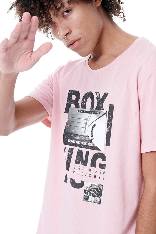 "Men's BDTK top with ""boxing"" chest print.  T-Shirts"